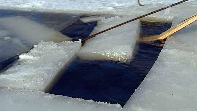 В одном из колхозов Гомельской области в полном разгаре заготовка льда