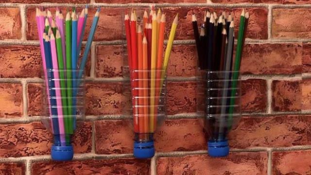 Подставки для карандашей из пластиковых бутылок своими руками 11